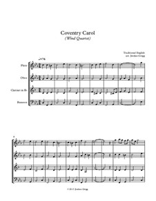 Coventry Carol: For wind quartet by folklore