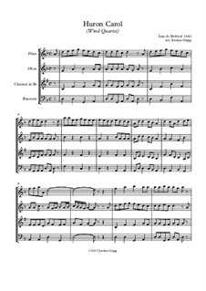 The Huron Carol: For wind quartet by folklore