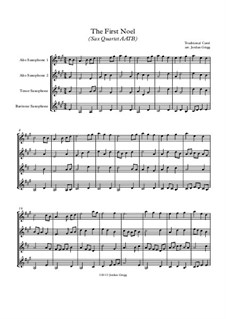 The First Nowell (The First Noël): For sax quartet AATB by folklore