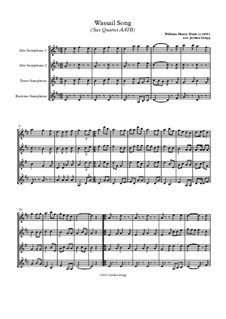 Here we Come a-Wassailing: For sax quartet AATB by folklore