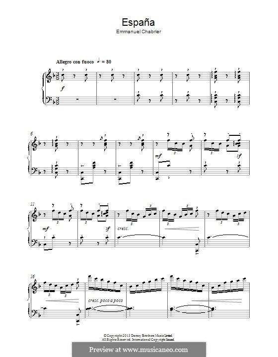 España: Thema. Version für Klavier by Emmanuel Chabrier