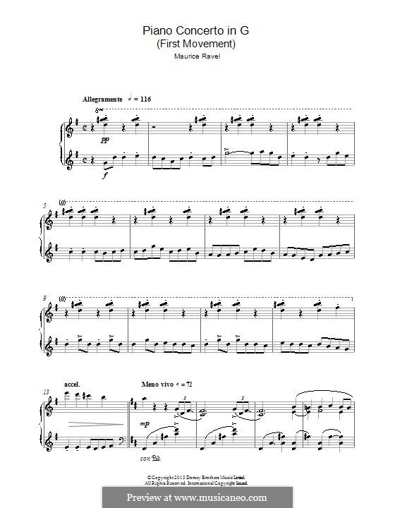 Konzert für Klavier und Orchester in G-Dur, M.83: Teil I. Version für Klavier by Maurice Ravel