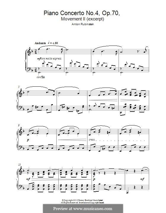 Konzert für Klavier und Orchester Nr.4 in d-Moll, Op.70: Themen. Version für Klavier by Anton Rubinstein