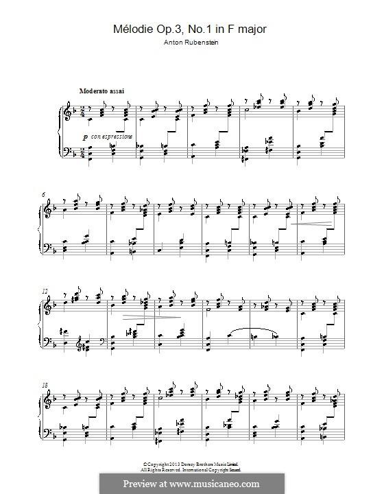 Zwei Melodien, Op.3: Melodie Nr.1 in F-Dur by Anton Rubinstein