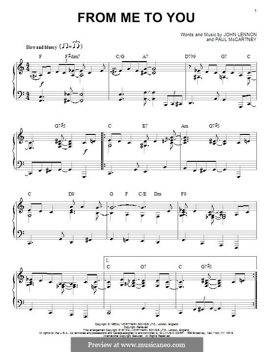 From Me to You (The Beatles): Für Klavier by John Lennon, Paul McCartney