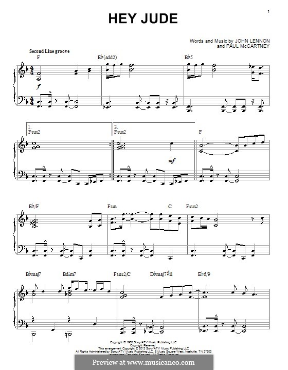 Hey Jude (The Beatles), for Piano: Jazz version by John Lennon, Paul McCartney