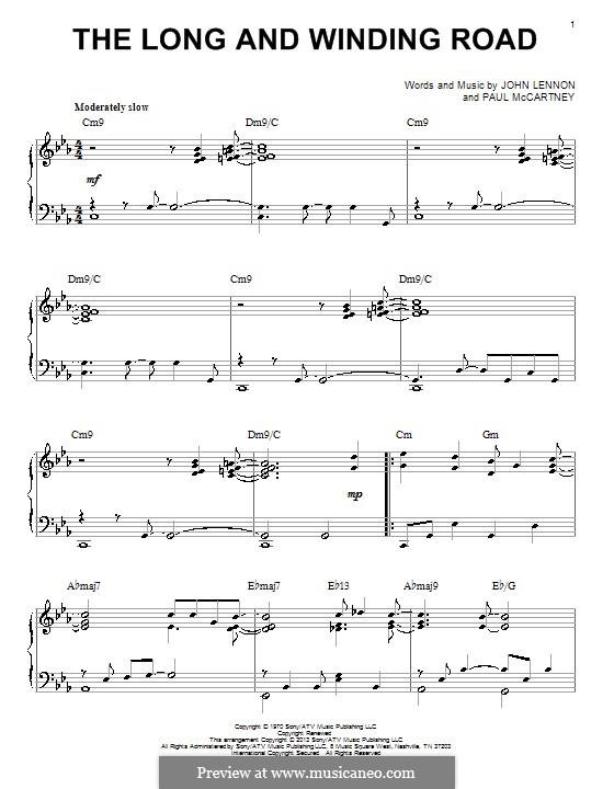 The Long and Winding Road (The Beatles): Für Klavier by John Lennon, Paul McCartney