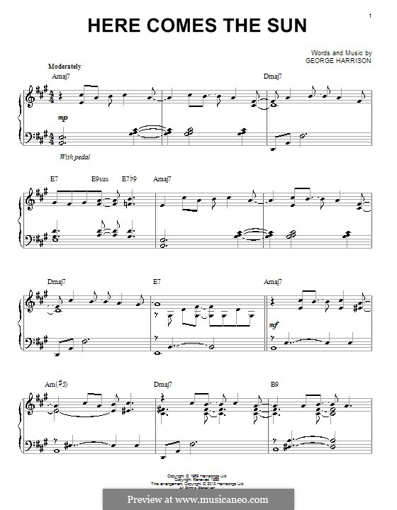 Here Comes the Sun (The Beatles): Für Klavier by George Harrison