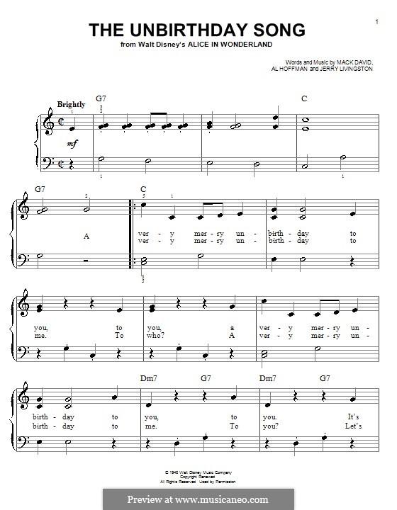 The Unbirthday Song: Für Klavier by Al Hoffman, Jerry Livingston, Mack David