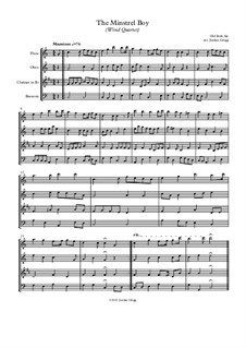 The Minstrel Boy (The Moreen): For wind quartet by folklore
