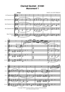 Quintett für Klarinette und Streicher in A-Dur, K.581: Teil I by Wolfgang Amadeus Mozart