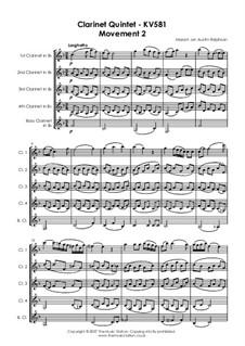 Quintett für Klarinette und Streicher in A-Dur, K.581: Teil II by Wolfgang Amadeus Mozart
