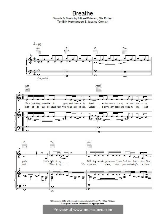 Breathe (Jessie J): Für Stimme und Klavier (oder Gitarre) by Jessica Cornish, Mikkel Storleer Eriksen, Sia Furler, Tor Erik Hermansen