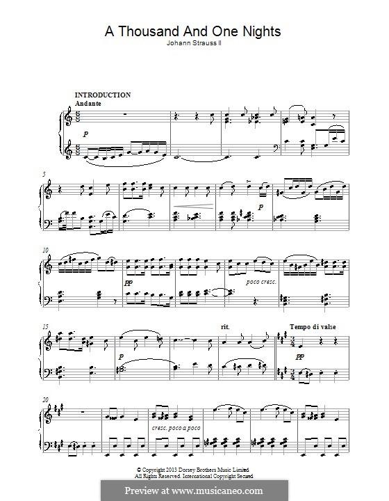 Tausend und eine Nacht, Op.346: Für Klavier by Johann Strauss (Sohn)