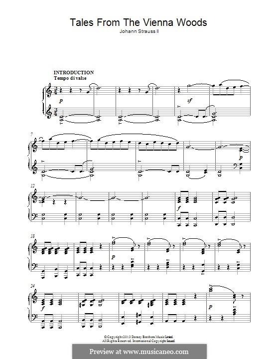 Geschichten aus dem Wienerwald, Op.325: Für Klavier by Johann Strauss (Sohn)