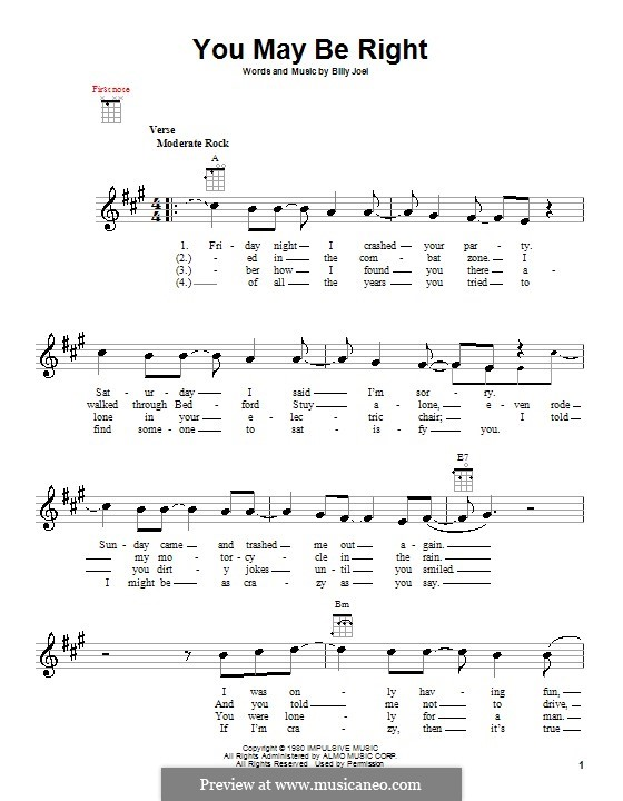 You May Be Right: Für Ukulele by Billy Joel