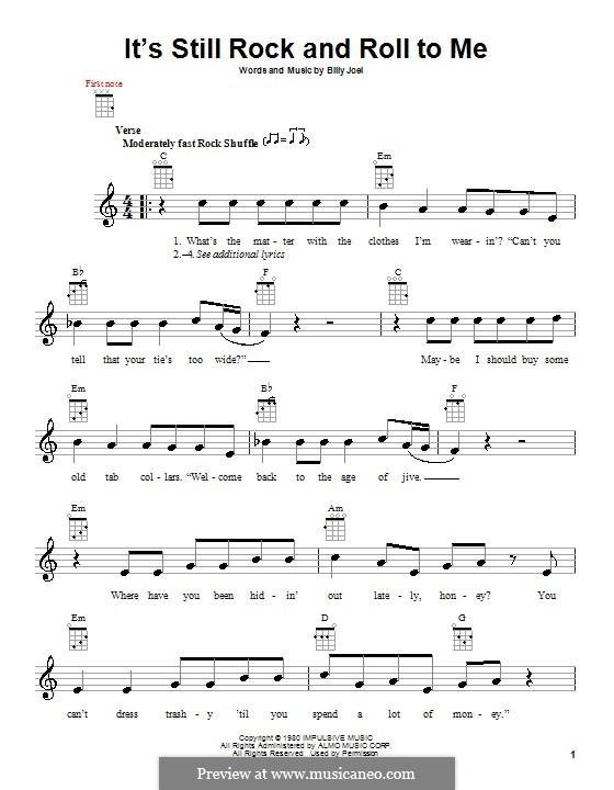 It's Still Rock and Roll to Me: Für Ukulele by Billy Joel
