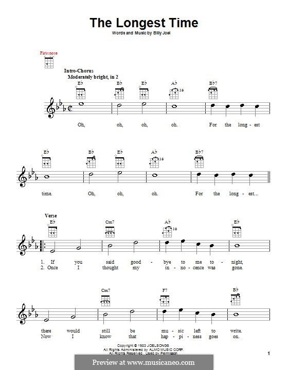 The Longest Time: Für Ukulele by Billy Joel