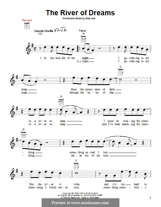 The River of Dreams: Für Ukulele by Billy Joel