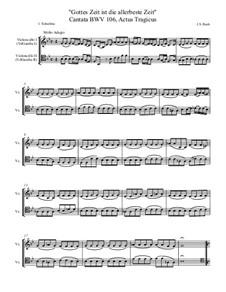 Gottes Zeit ist die allerbeste Zeit, BWV 106: Gamba parts transcribed for cellos, in Eb by Johann Sebastian Bach