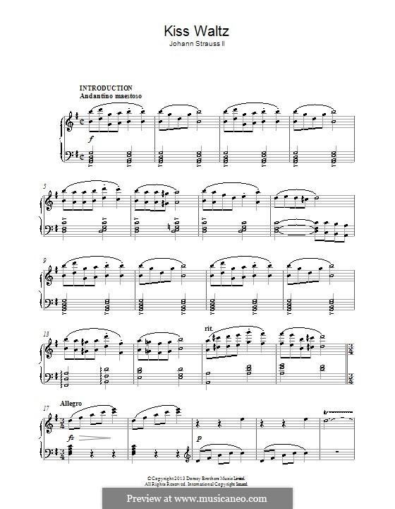 Kiss Waltz, Op.400: Für Klavier by Johann Strauss (Vater)