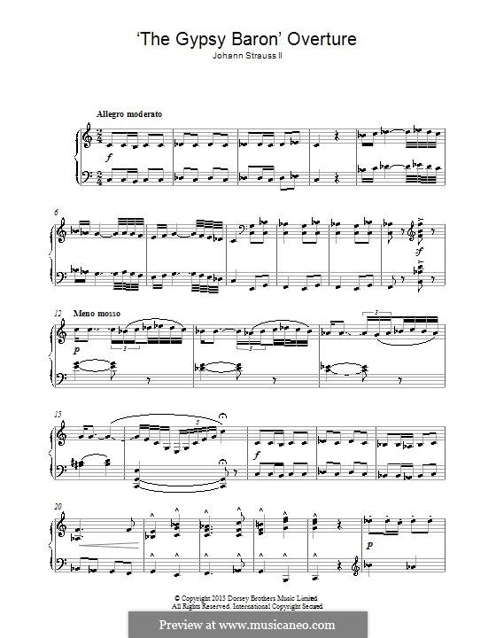 Der Zigeunerbaron: Für Klavier by Johann Strauss (Sohn)