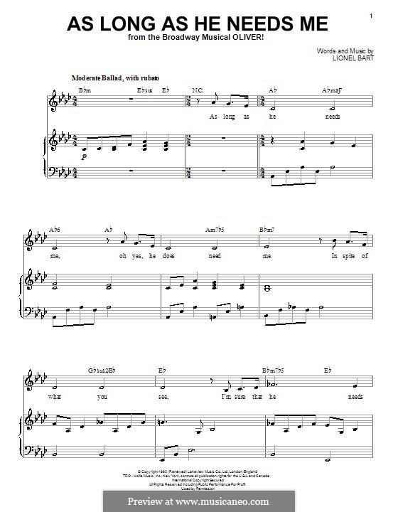 As Long as He Needs Me (from Oliver!): Für Stimme und Klavier by Lionel Bart