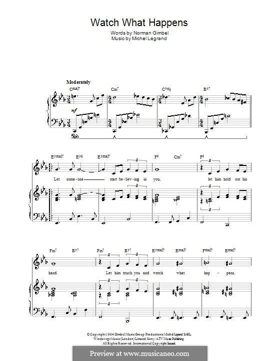 Watch What Happens: Für Stimme und Klavier (oder Gitarre) by Michel Legrand