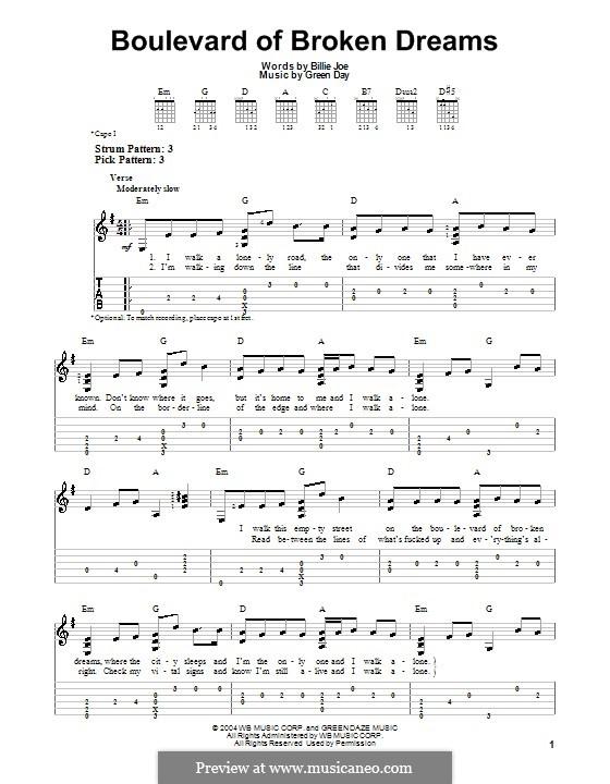 Boulevard of Broken Dreams (Green Day): Für Gitarre mit Tab by Billie Joe Armstrong, Tré Cool, Michael Pritchard