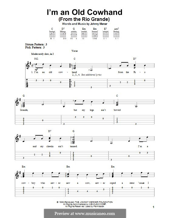 I'm an Old Cowhand: Für Gitarre mit Tab by Johnny Mercer