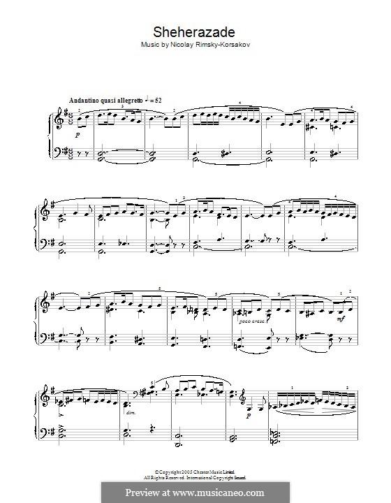 Scheherazade, Op.35: Fragment, für Klavier by Nikolai Rimsky-Korsakov