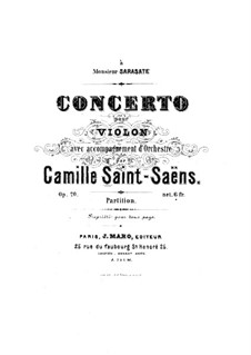 Konzert für Violine und Orchester Nr.1 in A-Dur, Op.20: Vollpartitur by Camille Saint-Saëns