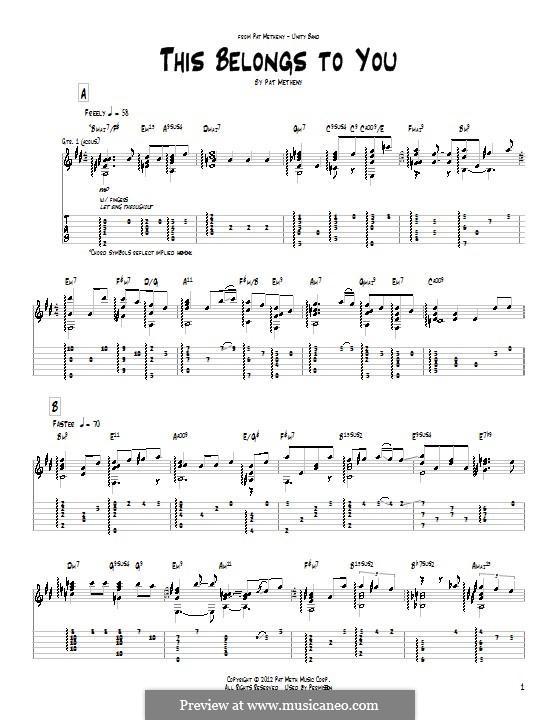 This Belongs To You: Für Gitarre mit Tab by Pat Metheny