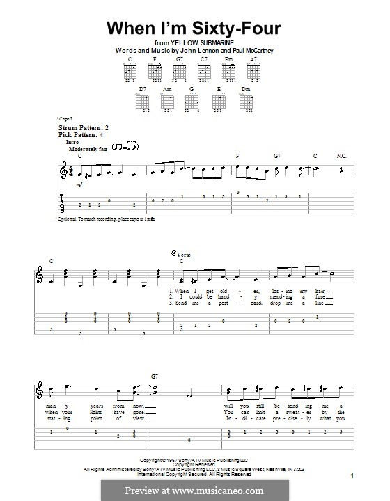 When I'm Sixty-Four (The Beatles), for One Instrument: Für Gitarre mit Tab by John Lennon, Paul McCartney