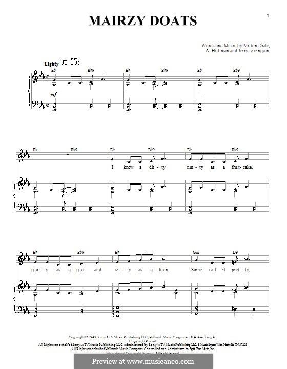 Mairzy Doats: Für Stimme und Klavier by Al Hoffman, Jerry Livingston, Milton Drake