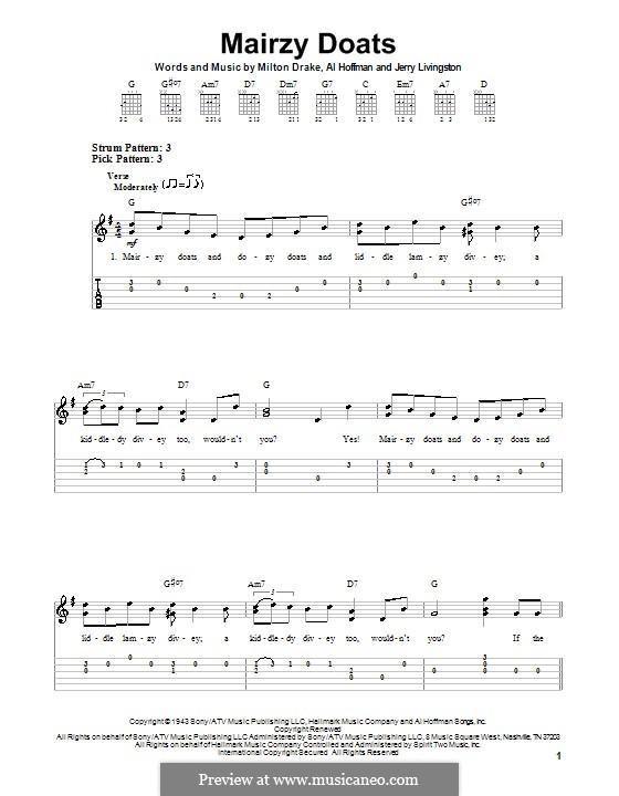 Mairzy Doats: Für Gitarre mit Tab by Al Hoffman, Jerry Livingston, Milton Drake
