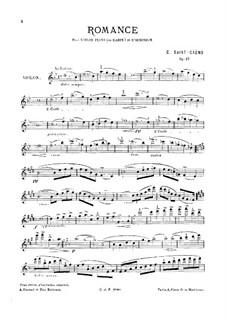 Romanze für Violine, Klavier (oder Harfe) und Harmonium, Op.27: Vollpartitur, Stimmen by Camille Saint-Saëns