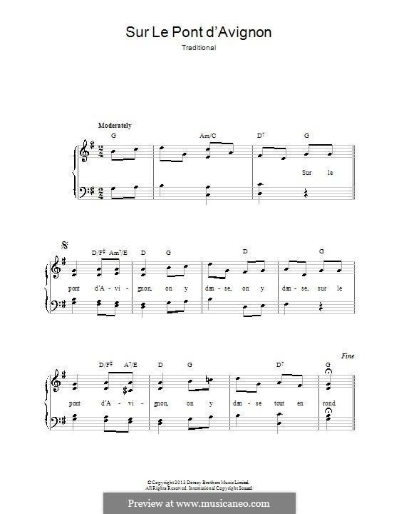 Sur le Pont d'Avignon: Für Klavier by folklore