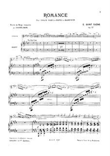 Romanze für Violine, Klavier (oder Harfe) und Harmonium, Op.27: Version für Violine und Harfe by Camille Saint-Saëns
