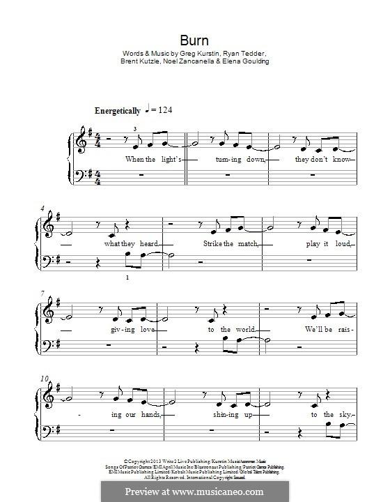 Burn: Für Klavier by Brent Kutzle, Ellie Goulding, Greg Kurstin, Noel Zancanella, Ryan B Tedder