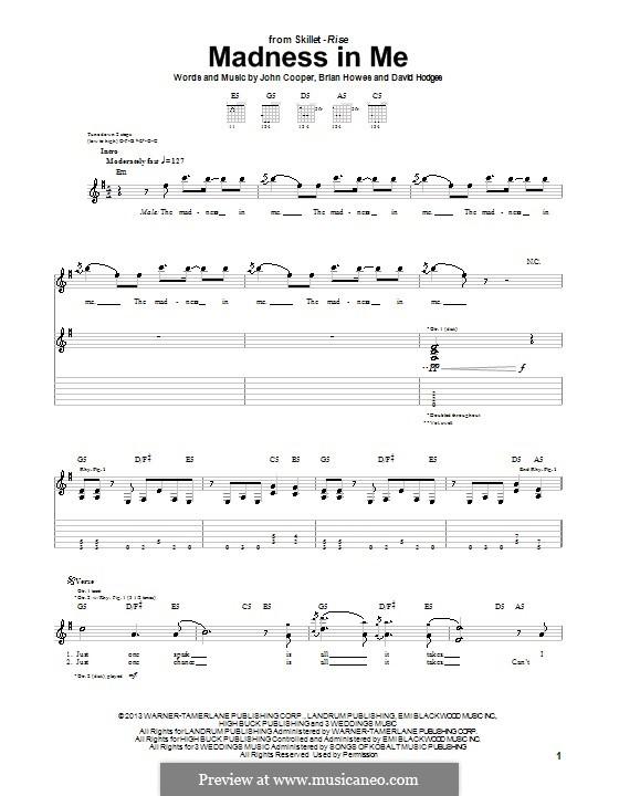 Madness in Me (Skillet): Für Gitarre mit Tab by Brian Howes, David Hodges, John Cooper