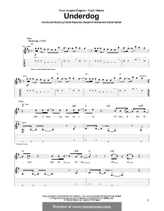 Underdog (Imagine Dragons): Für Gitarre mit Tab by Benjamin McKee, Daniel Reynolds, Daniel Sermon