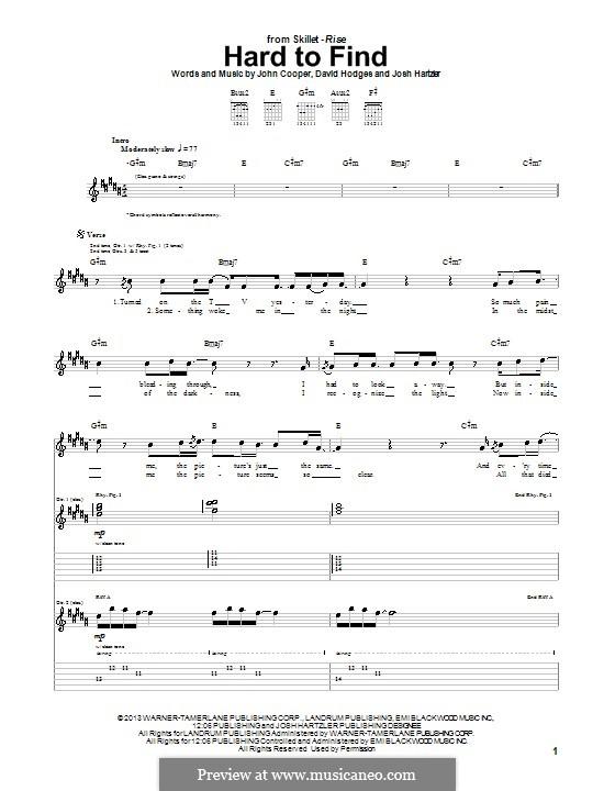 Hard to Find (Skillet): Für Gitarre mit Tab by David Hodges, John Cooper, Josh Hartzler