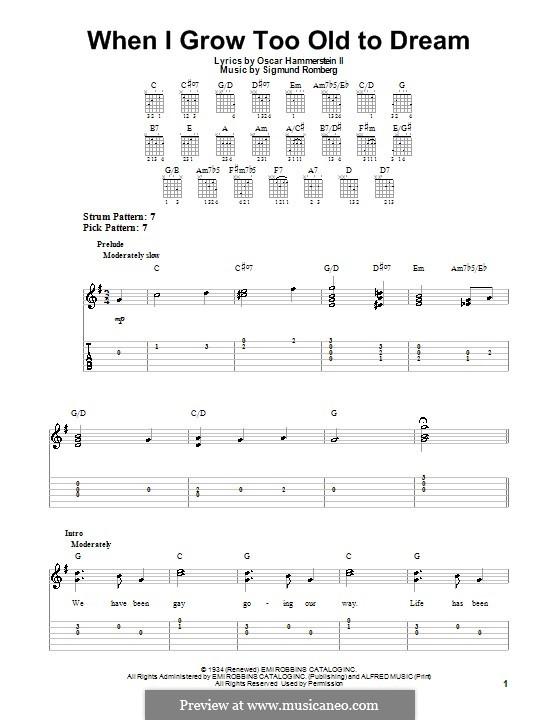When I Grow Too Old to Dream: Für Gitarre mit Tab by Sigmund Romberg