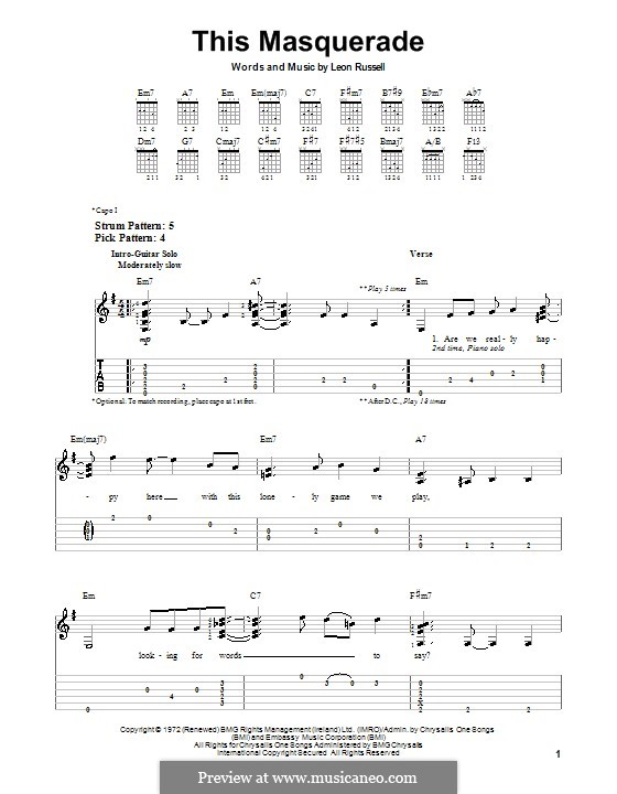 This Masquerade: Für Gitarre mit Tab by Leon Russell