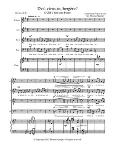 D'ou Viens-Tu, Beregere?: SATB and piano by folklore