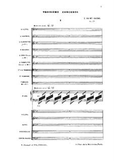 Konzert für Klavier und Orchester Nr.3 in Es-Dur, Op.29: Vollpartitur by Camille Saint-Saëns