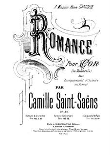 Romanze für Waldhorn (oder Cello) und Orchester, Op.36: Partitur by Camille Saint-Saëns