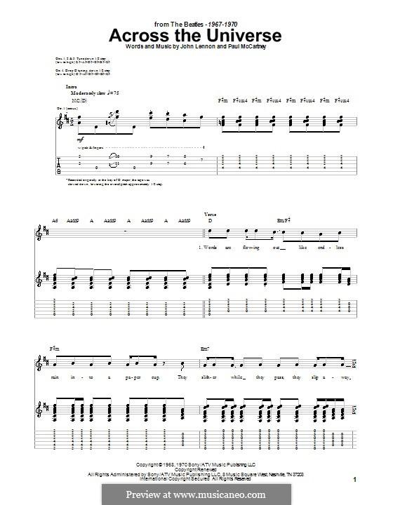 Across the Universe (The Beatles): Für Gitarre mit Tab by John Lennon, Paul McCartney