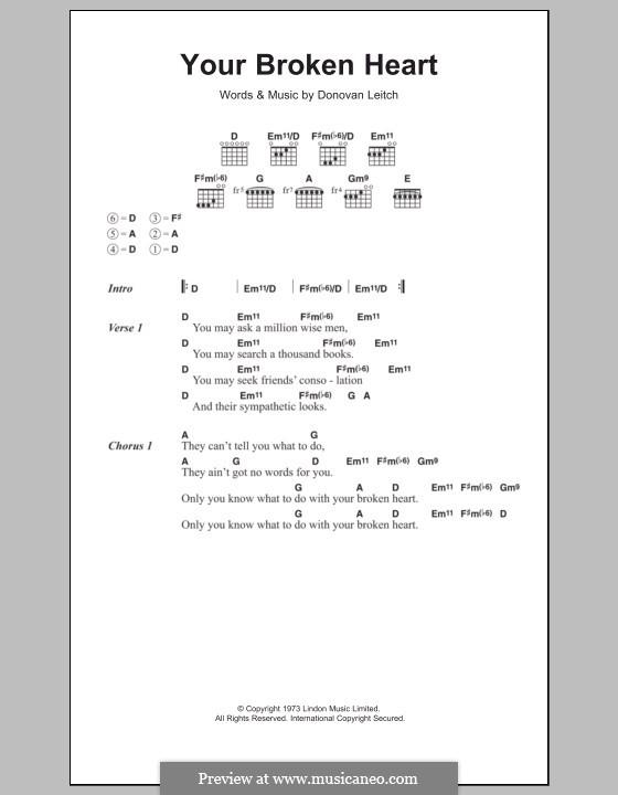 Your Broken Heart: Texte und Akkorde by Donovan Leitch